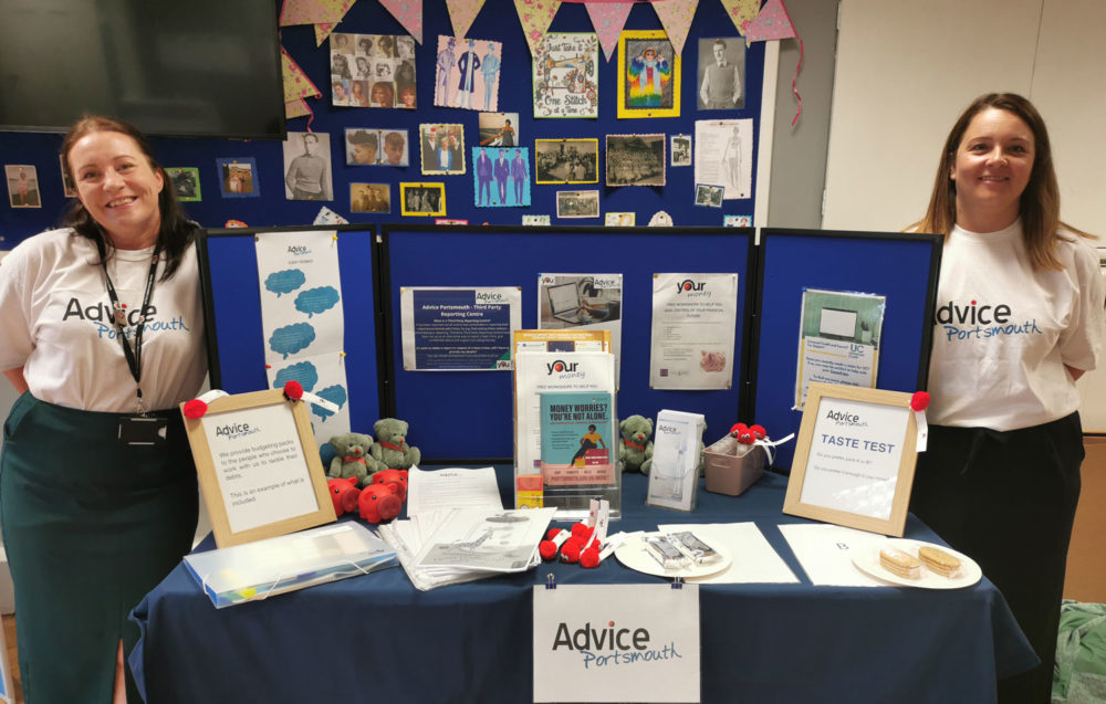 Advice portsmouth table with merchandise